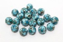 Aqua Blue Cloisonne Round Beads with Stars CL-97