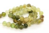 Grossular/ Green Garnet, Natural, A Grade, Faceted Round Gemstone Beads
