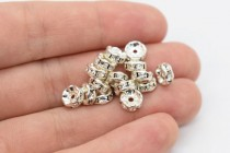 Rhodium Plated Brass / Crystal Swarovski Crystal Rhinestone Rondelle Spacer Bead