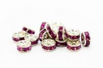 Rhodium Plated Brass / Fuchsia Swarovski Crystal Rhinestone Rondelle Spacer Bead