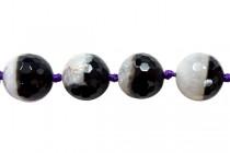 Black Sardonyx (Natural) A Grade Faceted Disco Ball Cut Round Gemstone Beads