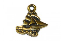 Charm,Clipper Ship, TierraCast®: ,antique gold - plated pewter (tin-based alloy), 16mm .
