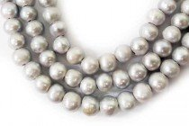 Big Hole Freshwater Pearls Potato Silver / Light Grey  - 10-11mm