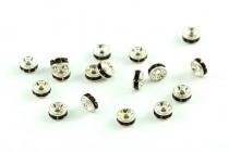 Rhodium Plated Brass  / Garnet Swarovski Crystal Rhinestone Rondelle Spacer Bead