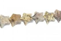 Silver Leaf Jasper (Natural) Star Gemstone Beads