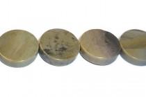 Silver Mist Jasper (Natural) Coin Gemstone Beads