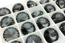 Crystal Silver Night Swarovski Crystal Faceted Rivoli Rhinestone - Foil Back 1122
