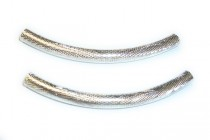 Silver Plate Over Copper Curved Textured Tube - Crosshatch