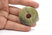 Silver Mist Jasper ( Natural ) A Grade Donut Stone Pendant