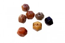 Flame Agate (Natural) A Grade Six Sided Drum Gemstone Beads