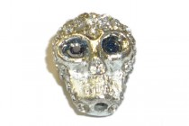 Clear Crystal Pave Skull Bead 13x16mm