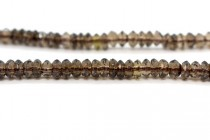 Smoky Quartz (Irradiated) Faceted Rondelle Gemstone Beads