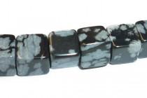 Snowflake Obsidian Big Hole Cube Gemstone Beads