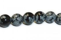 Snowflake Obsidian Big Hole Round Gemstone Beads