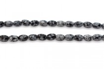 Snowflake Obsidian (Natural) Rice/Oval Gemstone Beads