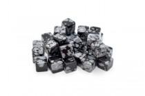 Snowflake Obsidian (Natural) Cube Gemstone Beads