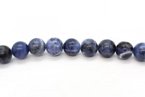 Sodalite (Natural) Smooth Round Gemstone Beads - A and AB Grade