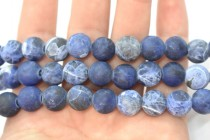Matte Sodalite (Natural) Smooth Round Gemstone Beads - Large Hole