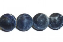 Sodalite Matte (Frosted) Natural A Grade Big Hole Round Gemstone Bead