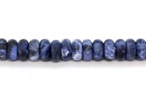 Matte Sodalite (Natural) Rondelle Gemstone Beads - Large Hole