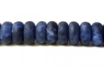 Sodalite Matte (Frosted) Natural A Grade Big Hole Rondelle Gemstone Beads