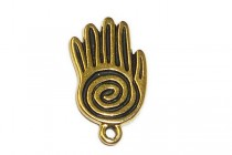 Antique Gold Plated Spiral Hand Charm - TierraCast®