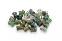 Moss Agate (Natural) Spool Gemstone Beads