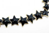 Enamel Black & Gold Beads - Star Shape