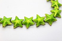 Enamel Lime Star Beads