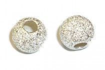 Sterling Silver Round Stardust Beads