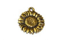 Charm, Sunflower, TierraCast®: ,Antique Gold - plated pewter (tin-based alloy), 15mm.