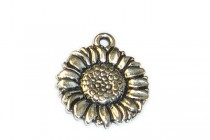 Charm, Sunflower, TierraCast®: ,Antique Silver - plated pewter (tin-based alloy), 15mm.