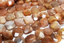 Sunstone (Natural) Faceted Flat Square Gemstone Beads