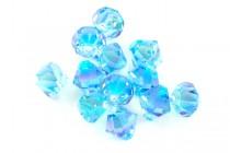 Aquamarine AB 2x 6301 Swarovski Crystal Bicone Pendant