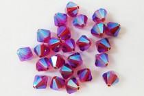 Fuchsia AB 2X 5301/5328 Swarovski Crystal Bicone Beads - Factory Pack Quantity