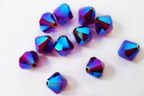 Ruby AB 2X 5301/5328 Swarovski Crystal Bicone Beads - Factory Pack Quantity