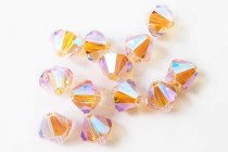 Light Peach AB 2X 5301/5328 Swarovski Crystal Bicone Beads - Factory Pack Quantity