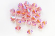 Light Rose AB 2X 5301/5328 Swarovski Crystal Bicone Beads