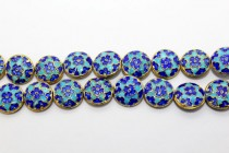 Blue Cloisonne Floral Beads - Puffy Coin CL-56