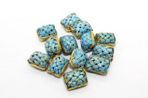 Aqua Blue Enamel Lattice Rectangular Tube Beads EN-17