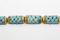 Aqua Blue Enamel Lattice Tube Beads EN-15