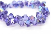 Tanzanite AB Swarovski Crystal Top Drilled Bicone Pendants 6301