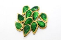 Enamel Green Gold Edged - Teardrop