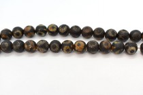 Brown Tibetan Agate (Dyed) Round Gemstone Beads - Three Eyes
