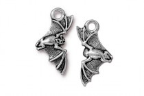 Charm, Bat, TierraCast®: ,Antique Silver - plated pewter (tin-based alloy), 11.6mm.