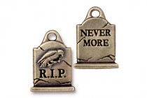 Charm,Grave Stone, TierraCast®: ,oxidized brass - plated pewter (tin-based alloy), 14.7mm .