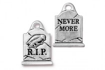 Charm,Grave Stone, TierraCast®: ,antique silver - plated pewter (tin-based alloy), 14.7mm .