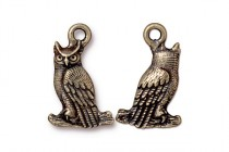 Charm, Owl, TierraCast® ,Oxidized Brass - plated pewter (tin-based alloy),13mm.