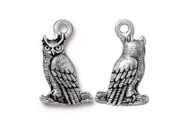 Charm, Owl, TierraCast®: ,Antique Silver - plated pewter (tin-based alloy), 22.2mm.