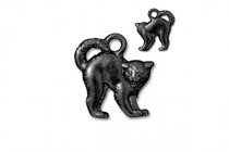Charm, Scary Cat, TierraCast®: ,Black - plated pewter (tin-based alloy), 16.2mm.